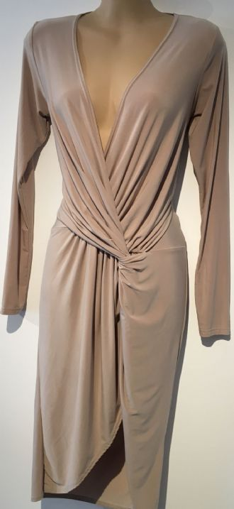 BOOHOO PALE GOLD PLUNGE EVENING WRAP DRESS SIZE 10